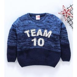 """Babyhug Full Sleeves Blue Sweater Team 10 Patch"""