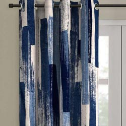 """Blue Blackout Polyester 7 feet Eyelet Curtain Brand ROMEE"""