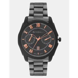 """Mast & Harbour - Men Black Analogue Stainless Steel Watch Black"""