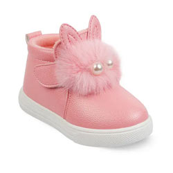 """Pink Fur Ball Applique Synthetic Sneakers"""