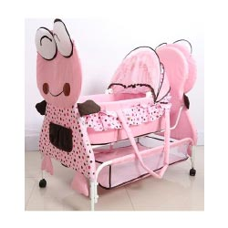 """Babyhug Froggy Print Pink Cradle With Mosquito Net and Swing Lock function"""