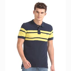 """Slim Fit Striped Polo Shirt by FLYING MACHINE """
