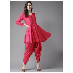 """ Women Pink Solid Kurta with Dhoti Pants by HERE&NOW"""