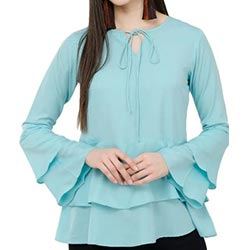 """Solids Layered Bell Sleeved Top"""