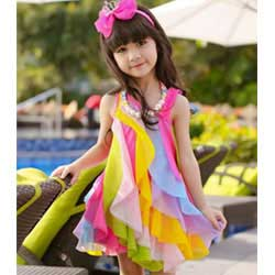 """Multi-colour Ruffle Sleeveless Party Dress"""
