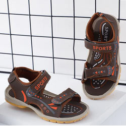 """Brown Velcro Open Toe Solid Sandal"""