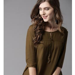 """HERE&NOW Women Olive Solid Green Top"""